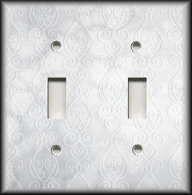 Metal Light Switch Plate Cover Silver Grey Home Decor Shaded Damask Watercolor