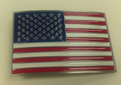 American Flag Belt Buckle Pewter Finish Approx. Size 3 1/2 In By 2 1/2 In