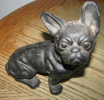 "Vintage Hubley Cast Iron FRENCH BULLDOG Dog Bank 7 1/2"" Tall - No markings Used"