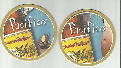 Lot Of 5 Pacifico Beer Coasters= Imported by Gambrinus of Texas-Surfboards