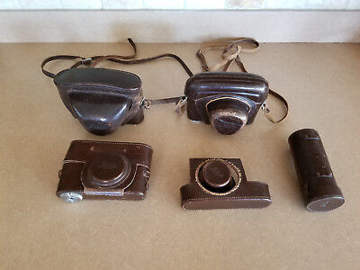Lot Of Vintage Leica Leitz Brown Leather Camera Cases