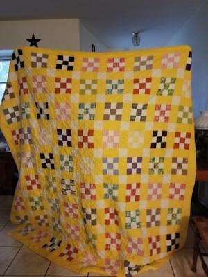 Antique Handmade Yellow Multi Color Checkerboard Patch Quilt