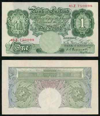 Currency Great Britain 1 Pound Banknote P363c 1934-39 Signed Peppiatt Prefix 45Z