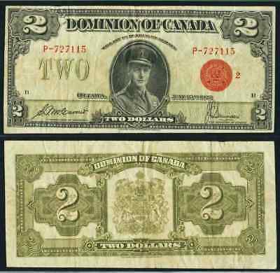 1923 Currency P# 34g Dominion of Canada 2 Dollar Banknote Prince of Wales Edward
