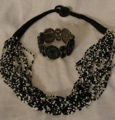 Black And White Multi Strand Seed Glass Beaded Necklace And Bracelet Set