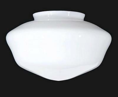 "Schoolhouse Light Shade Milk Glass 12"" Ceiling Fan Pendant Flush Mount White"