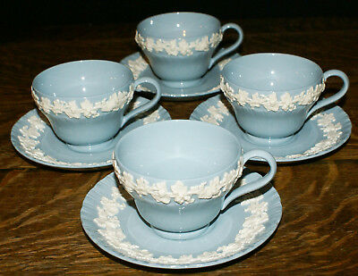 Wedgwood Queensware Cream on Lavender * FOUR Cups and Saucers * MINT