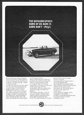 "1966 MG MGB Convertible photo ""The Octagon Spirit"" vintage promo print ad"