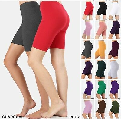 BIKER SHORT Stretch Shorts Yoga Gym Cotton SPANDEX Skinny Leggings ActiveWear US