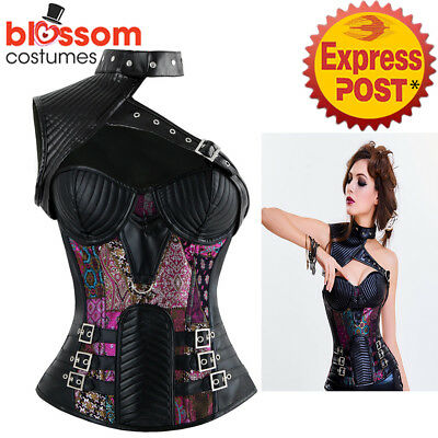 CC102 Steampunk Boned Faux Leather Corset Brocade Jacket Goth Halloween Costume