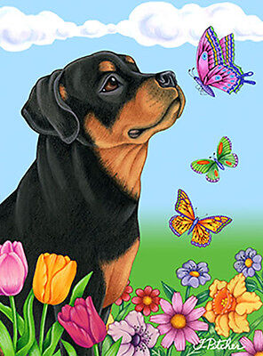 Large Indoor/Outdoor Butterfly (TP) Flag - Rottweiler 98002