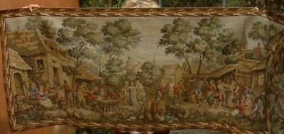 Vintage  long tapestry  village  scene  , wall hanging  80 x 33 inches