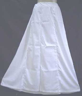 White Pure Cotton Petticoat Skirt Saree Sari Party Bride UK Size Exotic #96XJ4