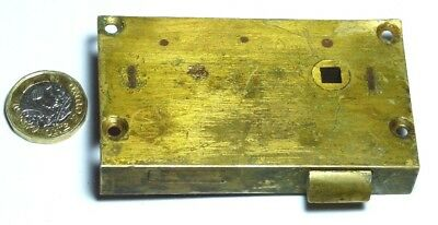 Old Antique Brass & Steel Drawer Latched Lock Furniture Edwardian/Victorian