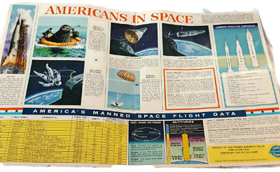 Vintage 1968 NASA Americans in Space Poster Chart by Chevrolet Dealer
