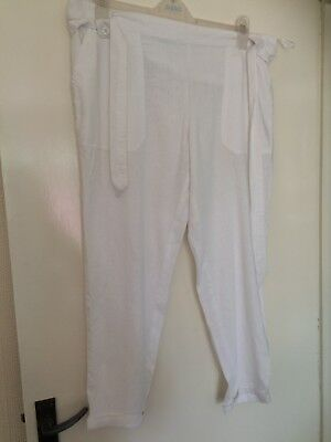 New Look White Linen Maternity Trousers