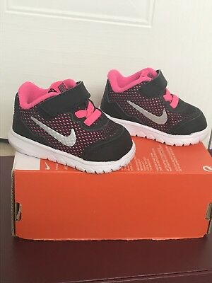 BNIB Baby Nike Trainers Pink Black Silver Infant Size UK 1.5 Girls