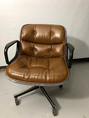 Vintage Mid-Century Knoll Brown Leather Executive Swivel Office Chair 1976