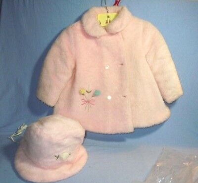 VTG 1930s Childs Pink Fuzzy Coat Bonnet SNO-SET by Wonderalls w/ Humpty Hanger
