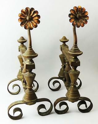 AESTHETIC MOVEMENT FIRE DOGS Brass c1885 RED BRICK & SUNFLOWERS STYLE