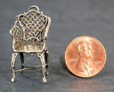 chair miniature sterling silver 1.25 in. replica  doll house antique original