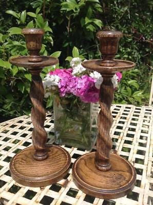 Antique Arts & Crafts Golden Oak Candle Sticks Barley Twist Matching Rustic Chic