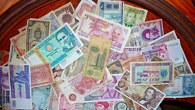 Lot of 51 International Bank Notes Obsolete/Circulated  34 Countries 1930-2004