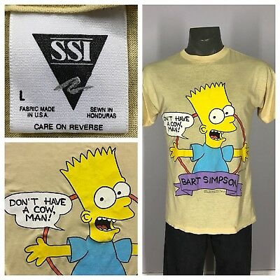 VTG 90s BART SIMPSON Paper THIN Thrashed 1990 Spell Out SHIRT M/L Homer