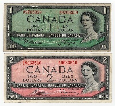 Lot Of 2 1954 Bank Of Canada One 1 And Two 2 Dollar Bank Notes Nice Bills