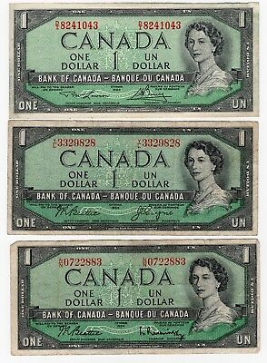 Lot Of 3 1954 Bank Of Canada One 1 Dollar Bank Notes Nice Bills Different Sig.