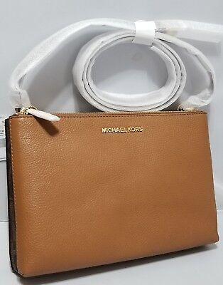 3a3bb74099af19 NWT Michael Kors Jet Set Travel Double Gusset leather Crossbody Brown &  Acorn