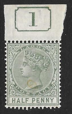Lagos 1885 ½d Dull Green SG 21 - Mint Marginal Example with Current Number