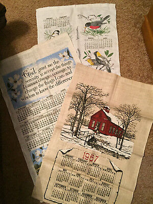 Vintage 1967 Calendar Red Barn Linen Tea Towel - NWOT