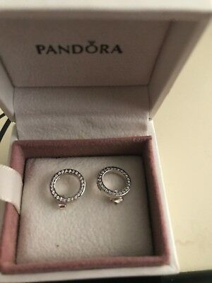 GENUINE PANDORA BOX WITH  CZ CIRCULAR EARNINGS S 925 BNIB with PANDORA BAG