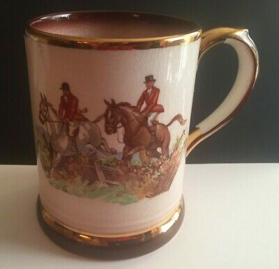 Vintage Arthur Wood England Beer Stein Mug Fox Hunting Riding Scene Horses Gold