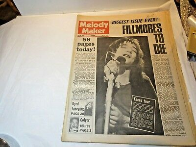 Vintage Melody Maker Music Paper 8 May 1971 Elp Groundhogs Family Orbison Byrds