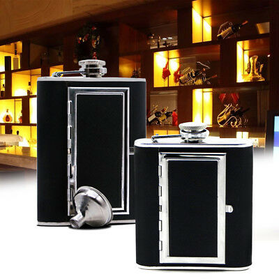 Portable 5/6 oz Stainless Steel Flask Flagon Black Wine Pot Bottle with Funnel