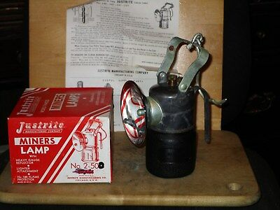 Miners JUSTRITE No. 2-501 CARBIDE HAND LAMP With Box- NEW/OLD STOCK!!