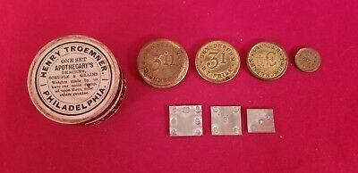 HENRY TROEMNER APOTHECARY COIN TOKEN SCALE WEIGHTS cardboard box