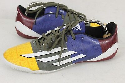 reputable site cf84f 87eed Adidas Mens F10 Messi Gold Blue Grey Red Indoor Soccer Shoes sz 9.5