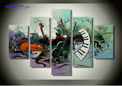 Handpainted Framed Modern Abstract Oil Painting on Canvas Wall Art Musical Decor