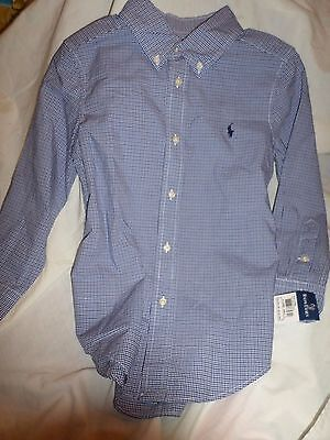 Ralph Lauren Boy 5 Navy Blue & Black Check Longsleeve Buttonup Cotton Shirt NWT