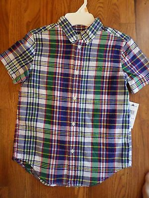 Ralph Lauren Navy Blue Green Red Plaid Buttonup Cotton Shirt Sz 7 NWT
