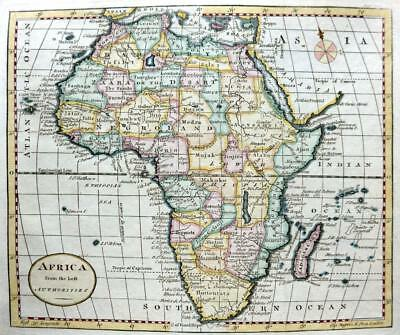 AFRICA BY THOMAS KITCHIN c1792 GENUINE COPPER ENGRAVED ANTIQUE MAP.