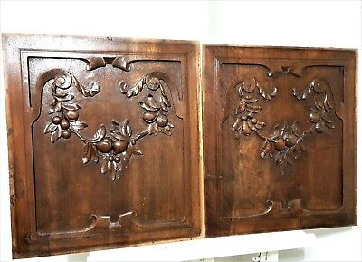 Pair country farmhouse panel Antique french carved wood architectural salvage