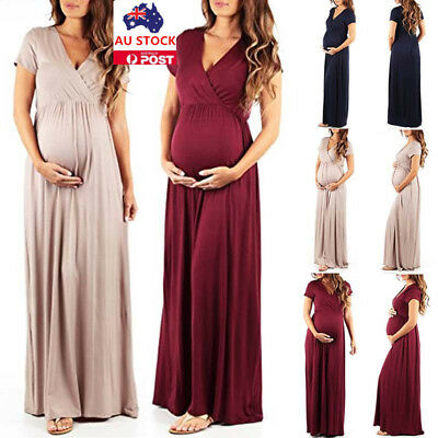 Maternity Maxi Gown Dress Pregnant Women V Neck Photography Photo Props Clothes