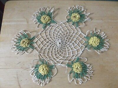 Vintage Off-White Crocheted Doily with Yellow Flowers and Green Leaves