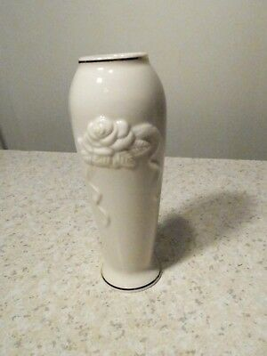 Small Raised Rose Embossed Lenox Vase White With Gold Trim 500