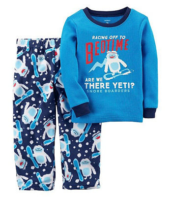 NWT ☀FLEECE☀ CARTERS Boys Pajamas YETI  New   YOU PICK  SIZE  7   8    $32