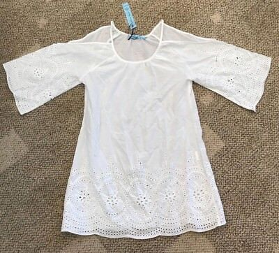 5eed81e454044 Solitaire Swim Womens Cold Shoulder Swimsuit Cover-Up White Size Medium M  Eyelet